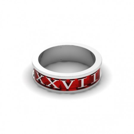 AQ numeral ring red enamel