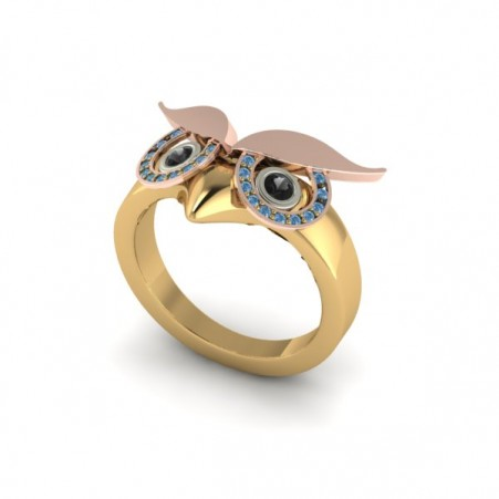 owl ring blue
