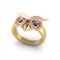owl ring pink