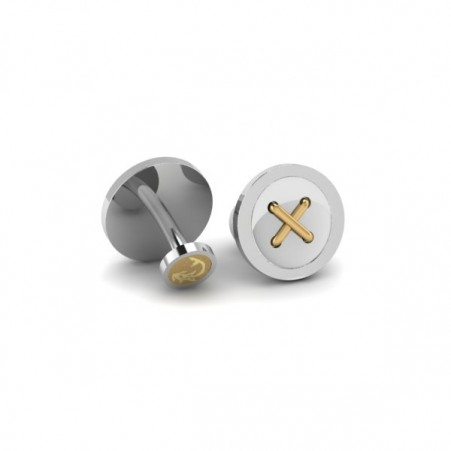 button + gold cufflink
